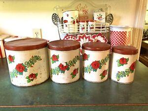 Vintage 1950's Tin Metal Kitchen Nesting Canister Set ~Red top~ Floral design