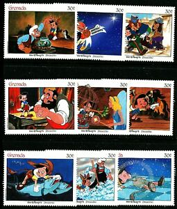 Pinocchio Disney set 9 mnh stamps Geppetto Jiminy Cricket Donkey Fish Blue Fairy