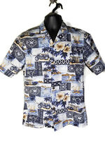 Royal Creations S Hawaiian Shirt Blue Tropical Motorcycle Woody Surf Palm Trees