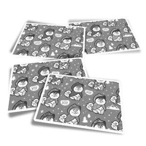 4x Rectangle Stickers - BW - ny Husky Dog Cartoon  #39170