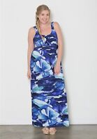 Plus Size Maxi Dress 5X Empire Waist Sleeveless Polyester Blend SWAK Tropical