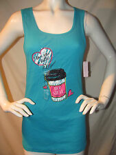 Cacique Intimates Womens Tank Top Teal Blue Print Cotton Size 14/16 WT B06