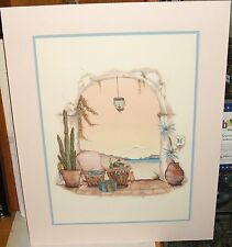 CAROL JEAN FRUIT ON TABLE AND CACTUS HAND SIGNED IN PENCIL LARGE LITHOGRAPH