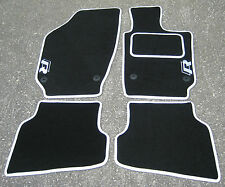 "Car Mats in Black/White Trim to fit VW/Volkswagen Polo (09 on) + ""R Line"" Logos"