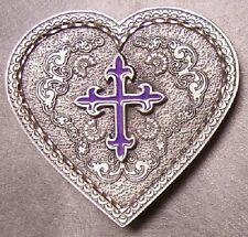 Pewter Belt Buckle Western Grace Heart Purple Cross NEW