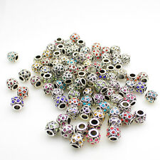 5X Czech Crystal Tibetan Silver Heart Rondelle Charm Beads for European Bracelet