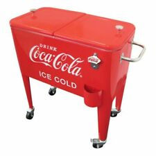 Coca-Cola Cooler 60 Qt. Ice Cold Retro Red Metal Rolling Wheels Party BBQ