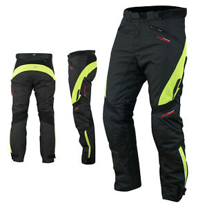 Waterproof Motorcycle Motorbike Textile Thermal Cordura Trousers Fluo Size 32
