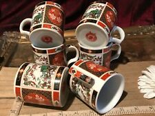 6 Vintage Asian Porcelain Imari Tea Cups w/ Flowers M M China Marked