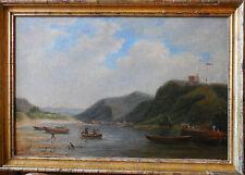 Huile sur panneau , PETIT PORT FLUVIAL,Ecole Française , XIXème