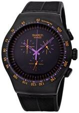 New Swatch Irony Purple In Dark Chronograph Oversized Men Watch YOB102 $225