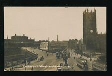 Lancashire Lancs MANCHESTER Exchange Railway Station Trams c1900s? RP PPC