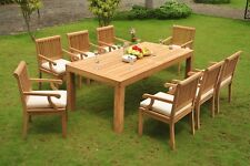 Sack Grade-A Teak Wood 9Pc Dining Canberra Rectangle Table 8 Arm Chair Set Patio