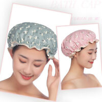 Adult Women Shower Cap Double Layer Spa Salon Bath Hair Hat Waterproof Reusable