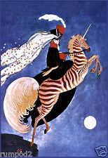 Art Deco Poster/Woman on Zebra Unicorn