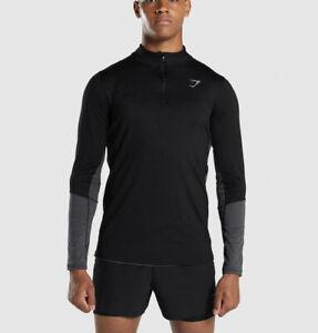 GYMSHARK Men's Speed 1/4 Zip Pullover In Black   GMHD5162