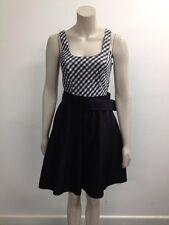 Be Beau - Grey/Black/White Belted Gingham Print Sleeveless Dress - UK 8 (W128)