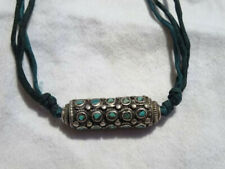 Bead with Turquoise Inlay Silver Hills Tribe Necklace