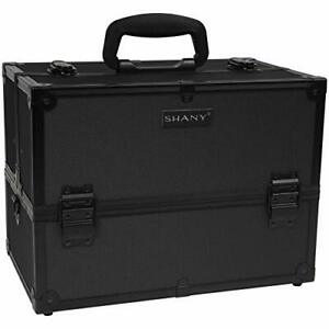 SHANY Essential Pro Makeup Train Case with Shoulder Strap and Locks - Black O...