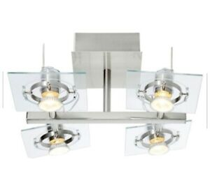 Silver Light Fixture with Tilting spot lights.