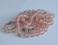 WMF Antique German Pink Opaline Myra Glass Crystal Beaded Hand Knotted Necklace