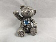 Miniature Heavy Pewter Teddy Bear with Blue Stone Aquamarine Good Luck
