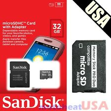 32GB Memory Stick w/ MS Pro Duo Adapter Card for PSP Cybershot Camera NEW SEALED