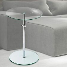 Design Night Table Bedroom Side Clear Glass Plate Round Height Adjustable