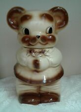 Vintage Turnabout Double Sided Face Ceramic Pottery Cookie Jar Bear Boy Girl