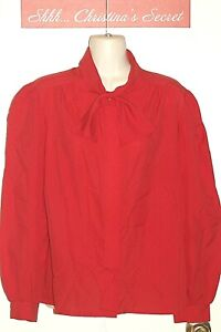 VINTAGE ALICIA Blouse Shirt Top Red Silky Neck Tie USA Sz 14 VG++