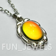 New Pretty Vintage Multi Color Changing Oval Stone Mood Necklace Free Chart