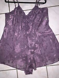 Solange Womans Size 18/20 Purple Sheer Négligée Chemise Romper Floral Jacquard