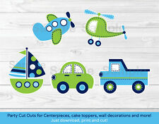 Transportation Vehicles Car Airplane Boat Party Cutouts Decorations Printable