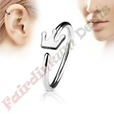 316L Surgical Steel Silver Ion Plated Nose & Ear Cartilage Ring with Crown