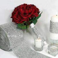 Silver Wedding Diamond Mesh Wrap Roll Sparkle Rhinestone Looking Ribbon #8Y