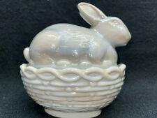 Gray milk glass bunny rabbit on nest / basket Easter eggs candy dish butter slag