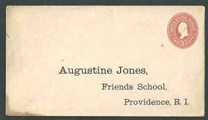 1899 U362 2c Orange On White Mint Entire W/Preprinted Friends School Providence-