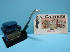 VTG. CARTER'S JR. CUBE INK STAND, INK BOTTLE, FOUNTAIN PEN  & 1920 INK BLOTTER