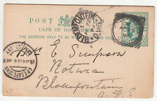 CGH: QV ½d Postal Card; Rondbosch [?]-Cape Town-Bloemfontein, 20-22 April 1899