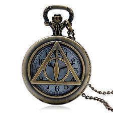 Antique Bronze Style Hollow Triangle Tripod Pocket Watch Men Women Pendant Gifts