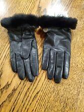 Ugg Black Medium Gloves Womens Leather Wool