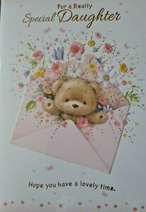 WITH  LOVE DAUGHTER HAPPY BIRTHDAY - DAUGHTER BIRTHDAY CARD (CUTE BEAR  FLOWERS)