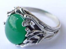 925 Silber Designer Ring Edelstein Chrysopras Vintage 80er silver ring