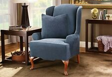Sure Fit Stretch Stripe Wing Chair Wingback Slipcover in Navy Blue One Piece