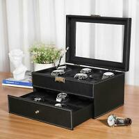6/12/20 Slot PU Leather Watch Box Display Jewelry Case Storage Organizer