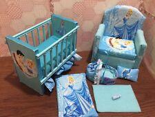 Barbie baby Nursery Set Furniture ,crib ,sofa ,carrier. Cinderella