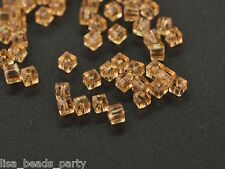 100pcs 3mm Cube Square Faceted Crystal Glass Findings Loose Beads Gold Champagne