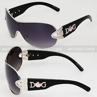 Womens DG Eyewear Shield Style Sunglasses Fashion Retro Wrap Black Frame Pink
