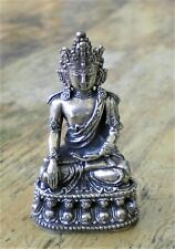 """Metal Alloy Crowned Buddha Statue for Dharma in Nepal, Tibet 2 1/4"""" High"""