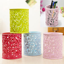 New Hollow Flower Pattern Cylinder Pen Pencil Pot Holder Container Organizer YH